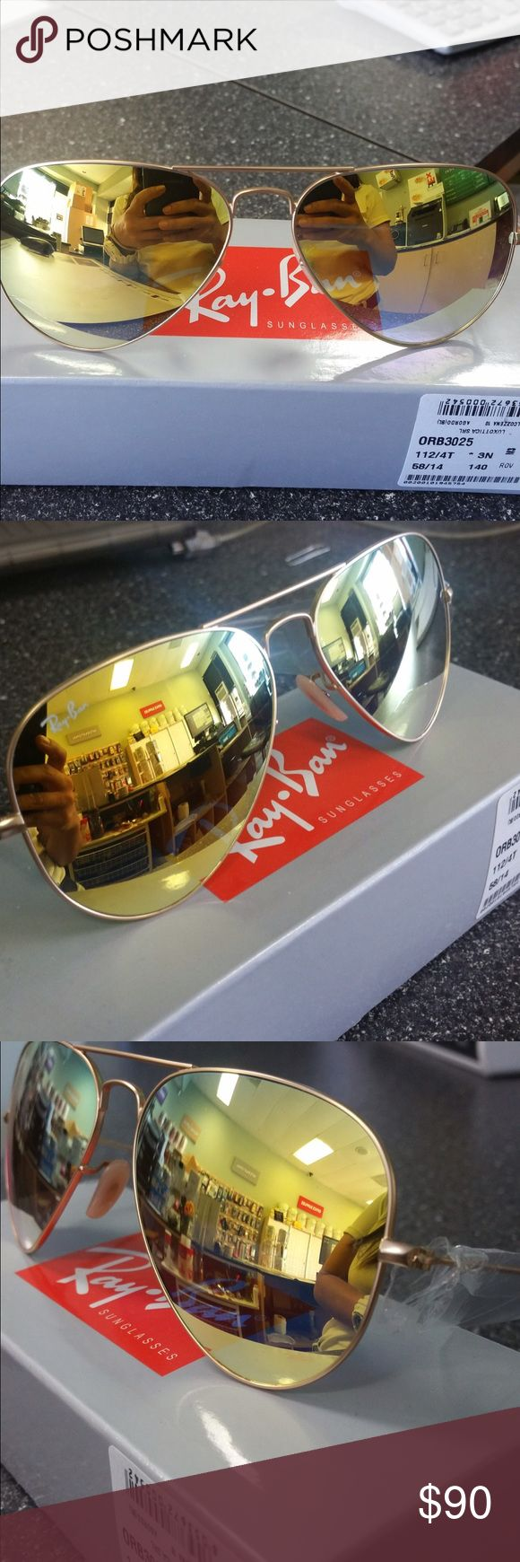 Ray-Ban 3025 gold aviator Stylish gold lenses aviator with gold frame , complete package Ray-Ban Accessories Sunglasses