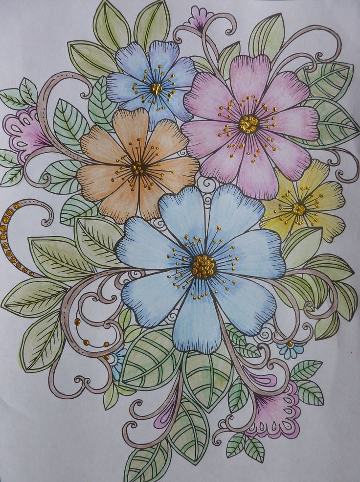 Flowers coloured with coloured pencils and highlighted with Imagination Craft's, rich gold Starlight paint.  Taken from the 'Colour Me Happy' colouring book, given free with  craft magazine. July 2016.   By Jennifer Johnston.