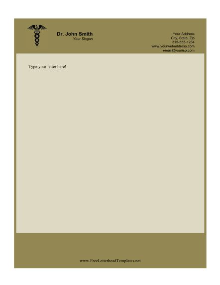 this printable doctor letterhead features the caduceus