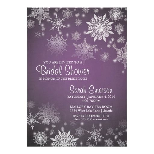 Winter Bridal Shower Purple Snowflakes Falling