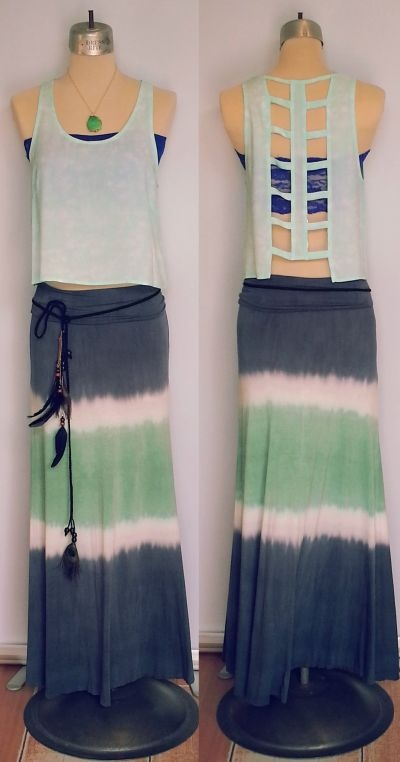 Open lattice back top with tie dye skirt.