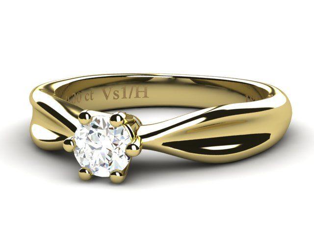 18K Yellow Gold Solitaire Diamond Ring 0.30ct - Paul Jewelry