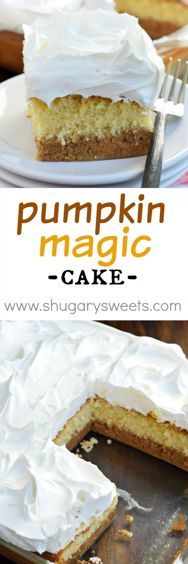 "Look at the beautiful layers in this Pumpkin Magic Cake. It all starts with a box mix and the cake ""magically"" separates! Perfect for Thanksgiving!"