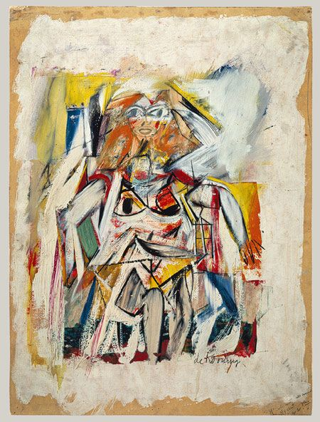 Woman, 1950  Willem de Kooning (American, born the Netherlands, 1904–1997)  Oil, cut and pasted paper on cardboard