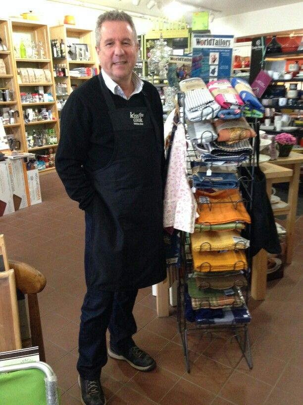 Lawrence, the owner of Kiss The Cook was very happy with his new staff uniform aprons!