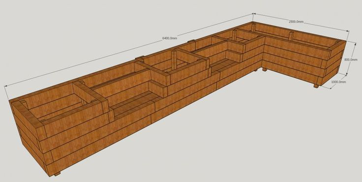 Les Mable's raised beds with bench seats from new railway sleepers