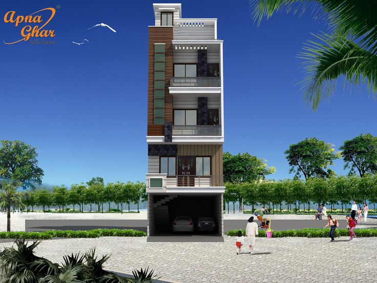 Front Elevation With Stilt Parking : Bedroom compact triplex house design with additional