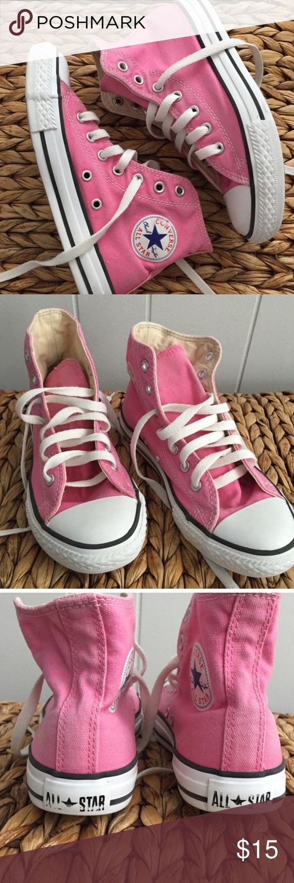 Pink High Top Converse youth 2 Pink High Top Converse Chuck Taylor's. Size youth 2. Converse Shoes Sneakers