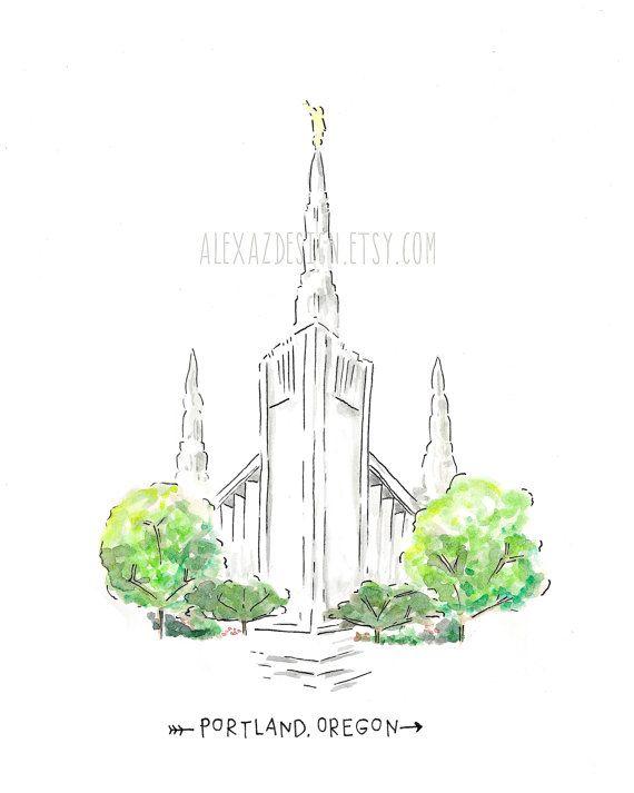 Portland Oregon LDS Temple AZ212  Watercolor by alexazdesign
