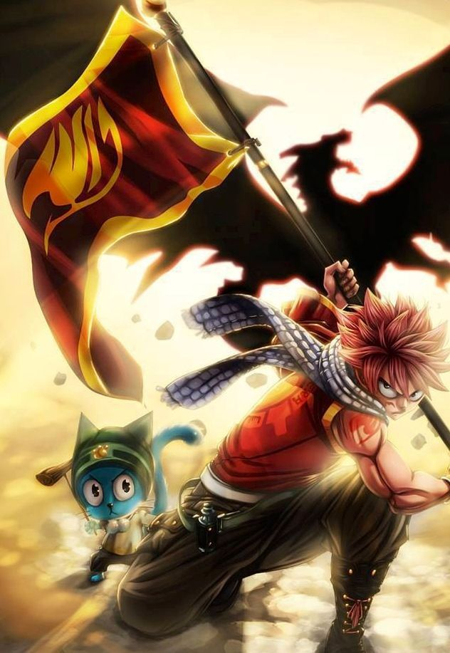 Natsu and Happy from Fairy Tail. :) awesome picture!!(: