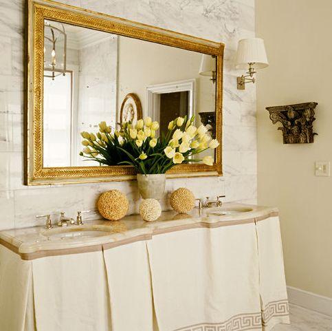Grant Gibson: Skirts Sinks, Ideas, Gold Mirror, Skirts Vanities, Bathroom Vanities, Tables Skirts, Greek Keys, Skirts Tables, Sinks Skirts