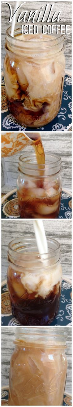 Vanilla Iced Coffee (1 K-Cup or 1 Cup of Coffee Ice Cubes Milk or cream 1 cup water 1 cup sugar 1 tsp vanilla)