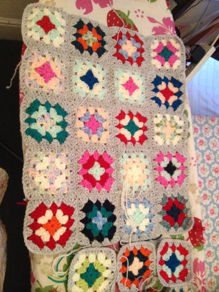 Granny squares crochet to cover my nursing chair in my bedroom