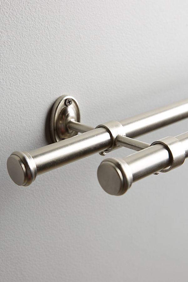 Adjustable Double Curtain Rod By Anthropologie In Silver Hardware