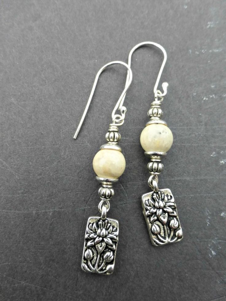 Idin Handmade Earrings - White round stone with spiral and beads handmade drop earrings zNcsK