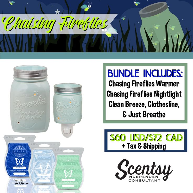 Chasing Fireflies Bundle - $60 includes Chasing Fireflies Warmer, Chasing Fireflies Nightlight, and your choice of 3 Scentsy Bars. Order today at www.smellarific.com. Flyer By: Angela O'Hare