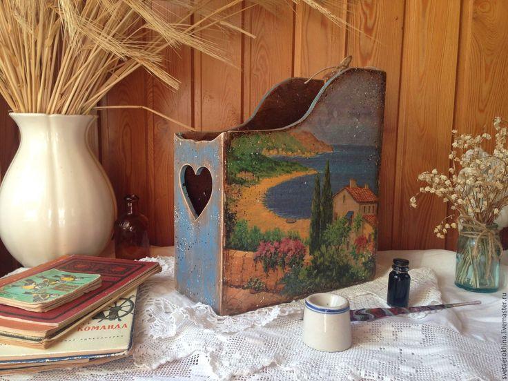 """Купить Журнальница  """"У моря"""" - комбинированный, журнальница, для дома и интерьера, для дома, кабинет, для хранения, книги"""