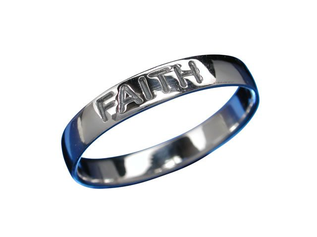 Sterling Silver 3mm *love Hope Faith* Ring