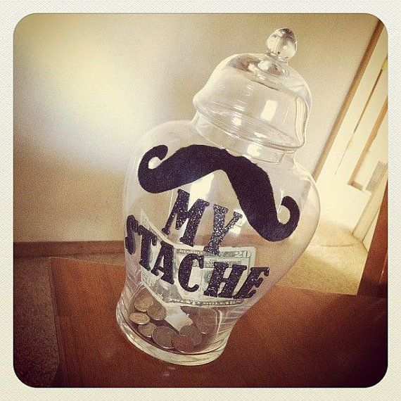 My 'Stache  Mustache Piggy Bank Jar perfect for by stacheyourstuff, $15.99