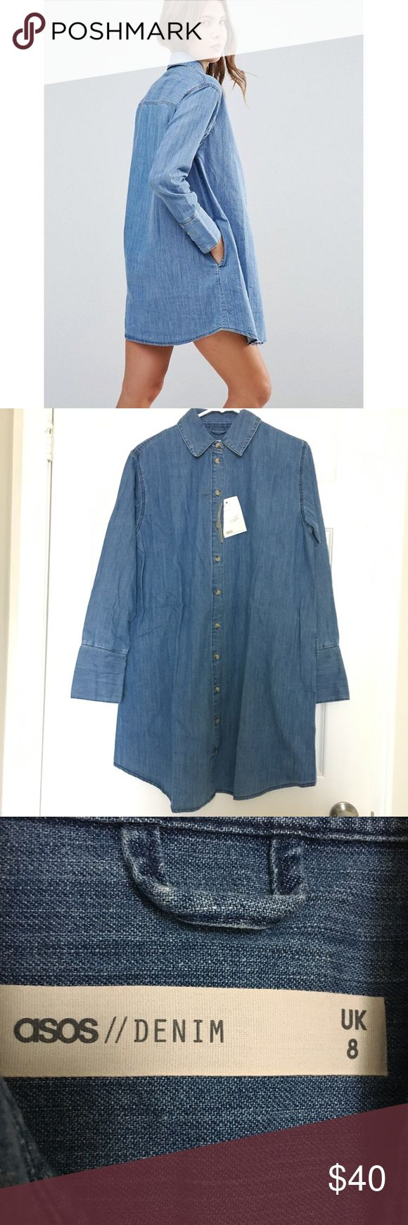 ASOS Denim Shirt Dress NWT denim shirt dress. Super cute Spring dress. Never worn with original tags and packaging. UK 8 = US 4 ASOS Dresses Mini