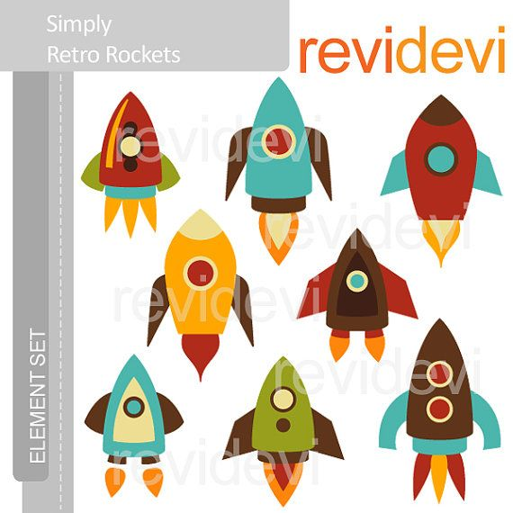 Clipart Simply Retro Rockets E054 - Element Set - Cute digital clip art graphics