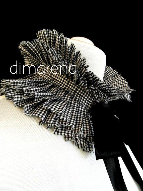 black & white collar//ruffle collar// detachable by dimarena