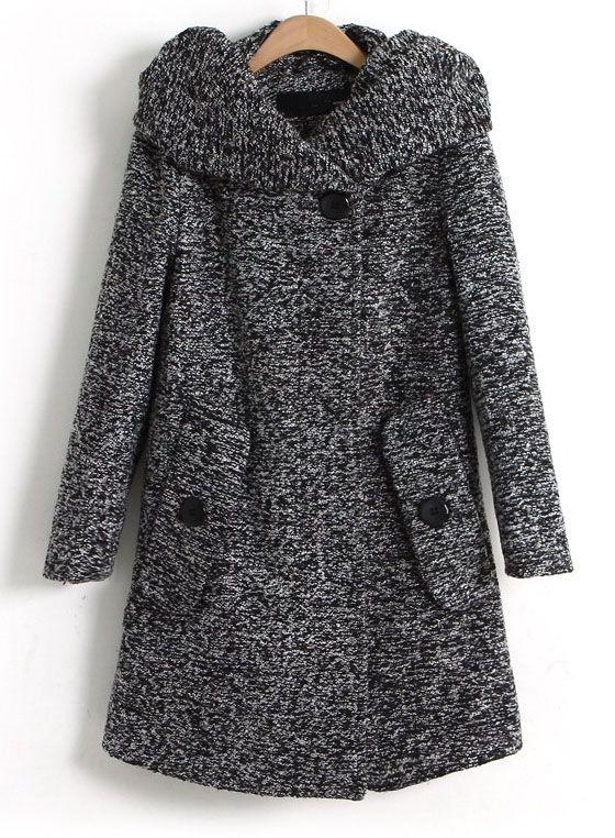 Abrigo con capucha Tweed bolsillos oblicuos mangas largas-Gris oscuro US$63.28