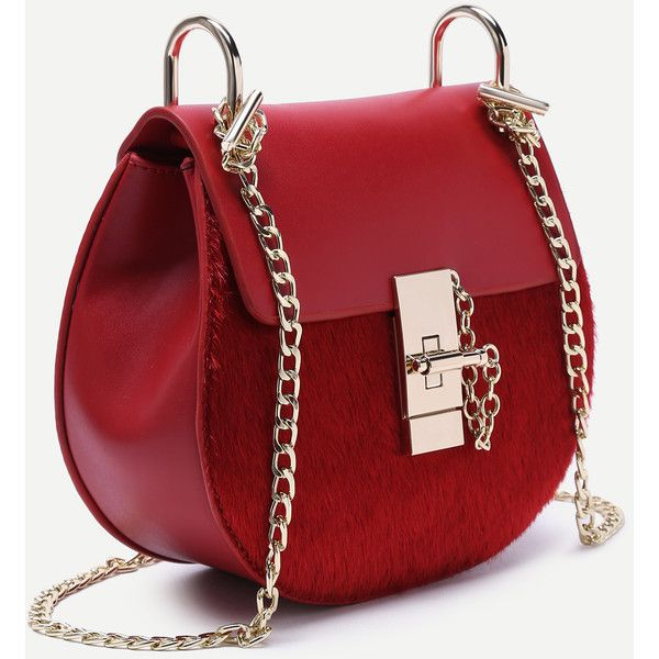 SheIn(sheinside) Red Horse Hair Covered PU Saddle Bag With Chain Strap ($28) ❤ liked on Polyvore featuring bags, handbags, shoulder bags, polyurethane handbags, horse handbags, chain strap handbags, pu handbag and saddle bags