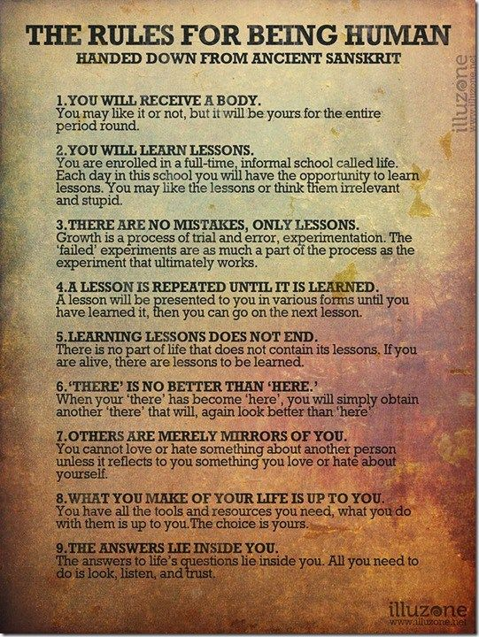 So precise and correct, the rules for being human are my personal lesson.…