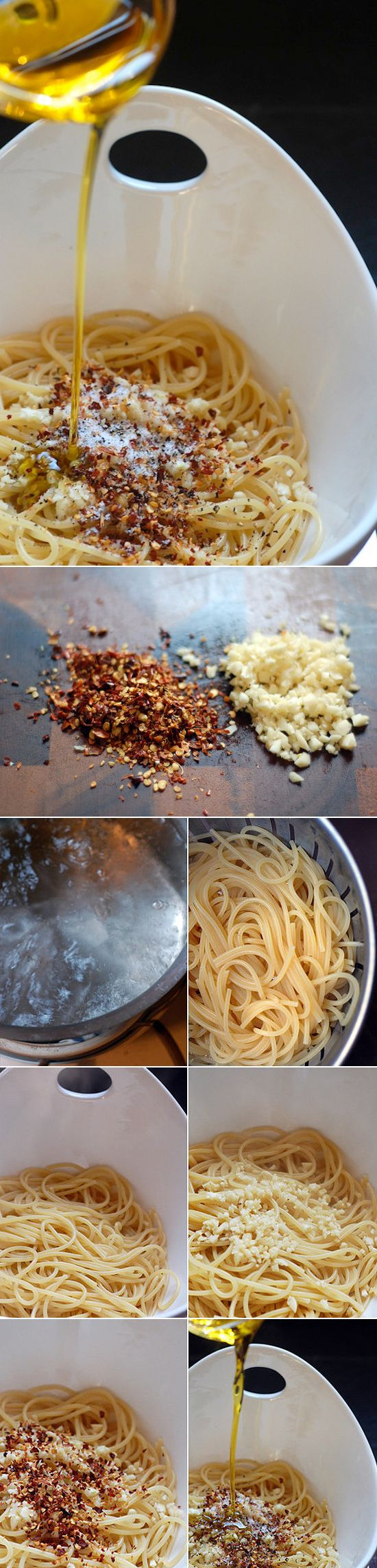 Spaghetti aglio, olio, e peperoncino is a traditional Italian pasta dish. It's well loved by many because it's so easy and inexpensive to make. This is a perfect solution whenever you're in a bind. For example, if guests come over and you've got nothing to serve, they are certain to be wowed when you present them with this meal.