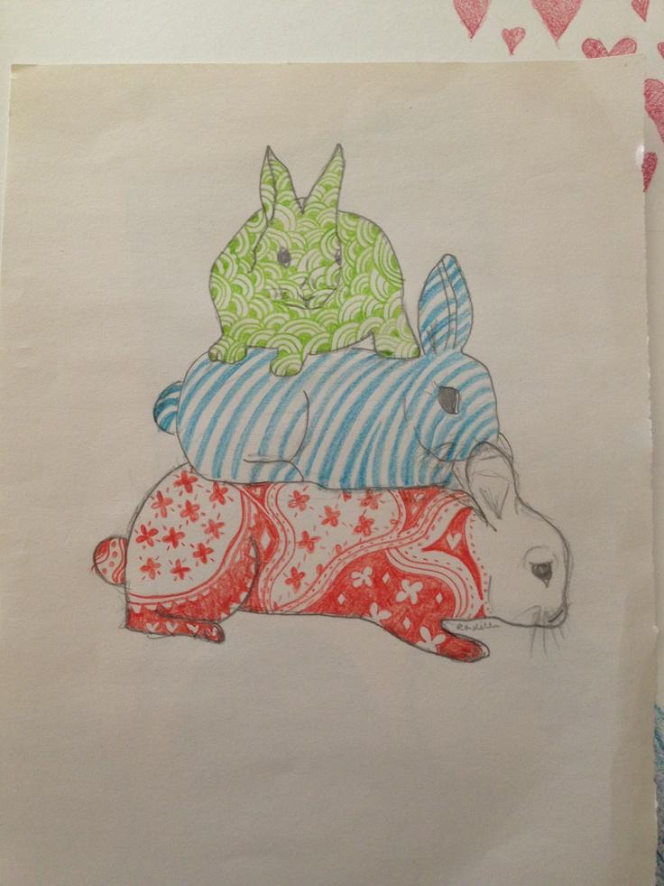 3 Bunnies illustration ~ pencil on paper.   Copyright Rondelle Douglas