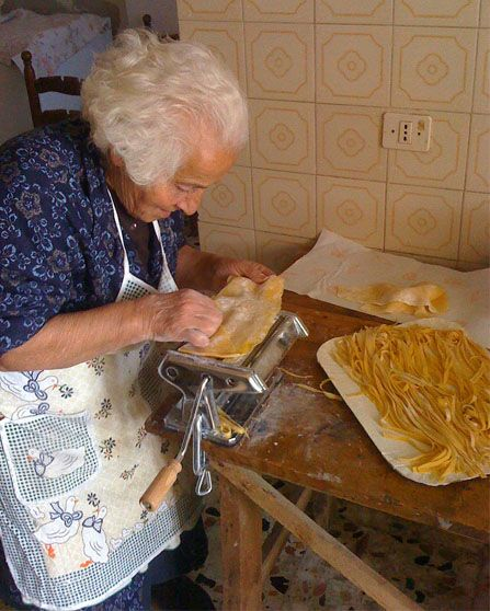 An Italian Nonna making pasta