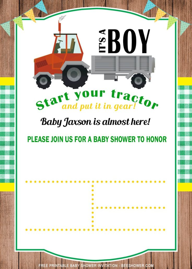 Free Printable Tractor Baby Shower Invitation Templates Tractor Baby Shower Invitations Free Printable Baby Shower Invitations Tractor Baby Shower
