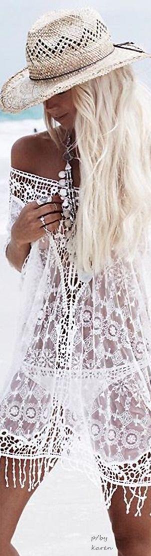Boho Sheer White Lace Swim Cover Up  ≫∙∙☮ Bohème Babe ☮∙∙≪• ❤️ Babz™ ✿ιиѕριяαтισи❀ #abbigliamento #bohojewelry #boho