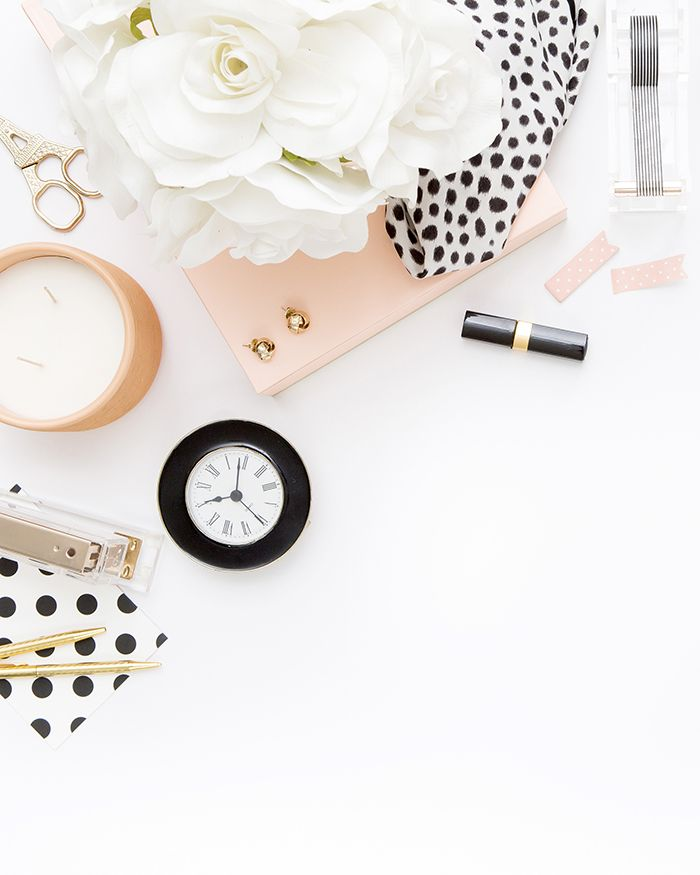 In the shop: Peach & Gold Desktop  Peach, black and white, and Gold styled desktop | Styled Stock Photography | Gold, black and white, and Peach | Styled by SCstockshop