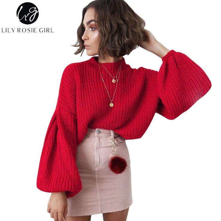 Лили Rosie элегантное Фонари рукавом красные винтажные вязаный свитер Для женщин pumper пуловер 2017 осень зима свободные черные Свитеры для женщин купить на AliExpress