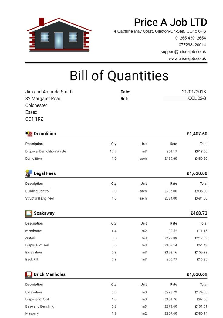 Bill Of Quantities. Construction Estimating Software   support@priceajob.co.uk  www.priceajob.co.uk
