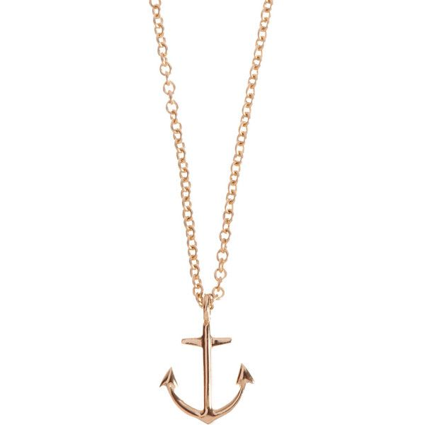 Minor Obsessions Gold Anchor Pendant Necklace found on Polyvore
