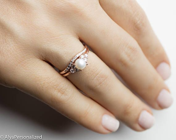 Anello fidanzamento oro rosa 14k perla anello di