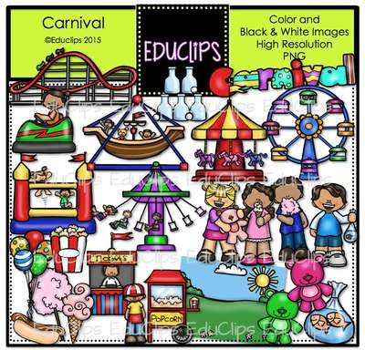 Carnival Clip Art Bundle from Educlips on TeachersNotebook.com -  (57 pages)  - Carnival Clip Art Bundle -Join the fun of the carnival with this colorful collection of kids enjoying rides and activities.