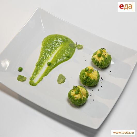 Японский десерт из зеленого горошка
