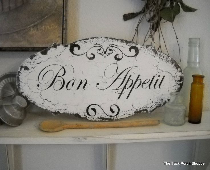 BON APPETIT Shabby Cottage Vintage Style Kitchen Signs 14 x 7. $34.95, via Etsy.