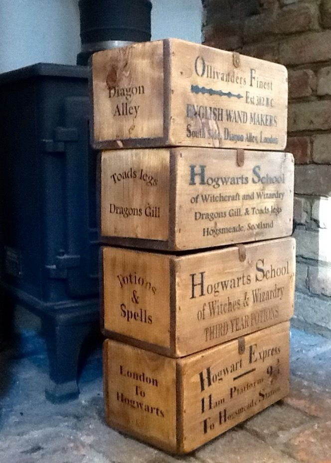 Hogwarts Rustic Style Wooden Boxes. Harry Potter: Diagon Alley: Hogsmeade in Collectables, Fantasy/Myth/Magic, Harry Potter | eBay