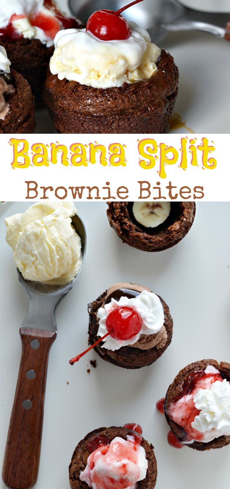 Two favorite ice cream treats--brownie sundaes and banana splits--come together as the inspiration for this ice cream confection. These Banana Split Brownie Bites are a treat everyone will love! #SoHoppinGood #TopYourSummer #ad @Walmart @blue_bunny