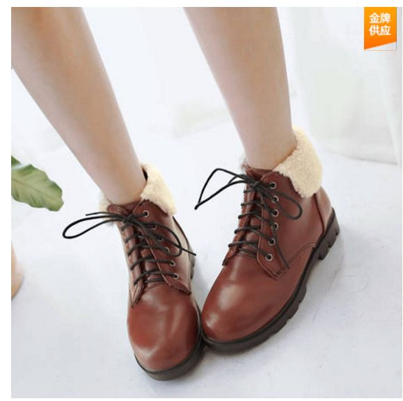 Womens Casual Lace Up Pu Leather Ridding Faux Fur Ankle Boots Flat Heel Shoe