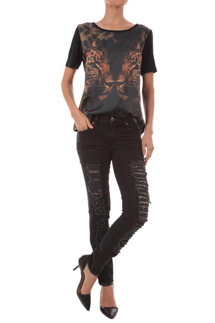Pop Up Store T-Shirt Frente Estampada Onça | e-Closet