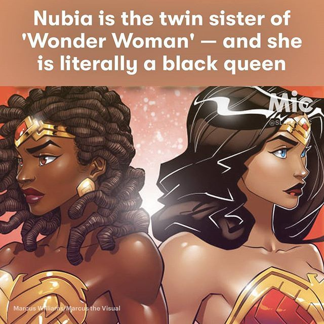 WEBSTA @ respectmyhair - Meet Nubia: Wonder Woman's twin sister. Nubia is not the foil to Diana, Wonder Woman's true identity, but a true equal. According to the DC lore, she was created in 1973 out of the same clay used to make Diana, only her clay was black. She was formed by the goddess Aphrodite, and from there her backstory gets a bit wild. She is stolen at birth by Mars, the god of war, and was trained by him to become a master at hand-to-hand combat. In fact, when she was introduced…