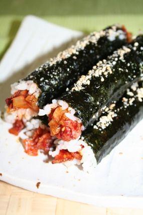 5姉妹の病みつきキムバプベーコンキムチキムバプレシピ ーー ヨンジョンオリジナルキムバプ   韓国料理店に負けない韓国家庭料理レシピ「眞味」