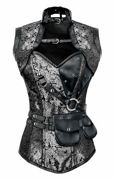 1364 Silver and Black Steampunk Corset