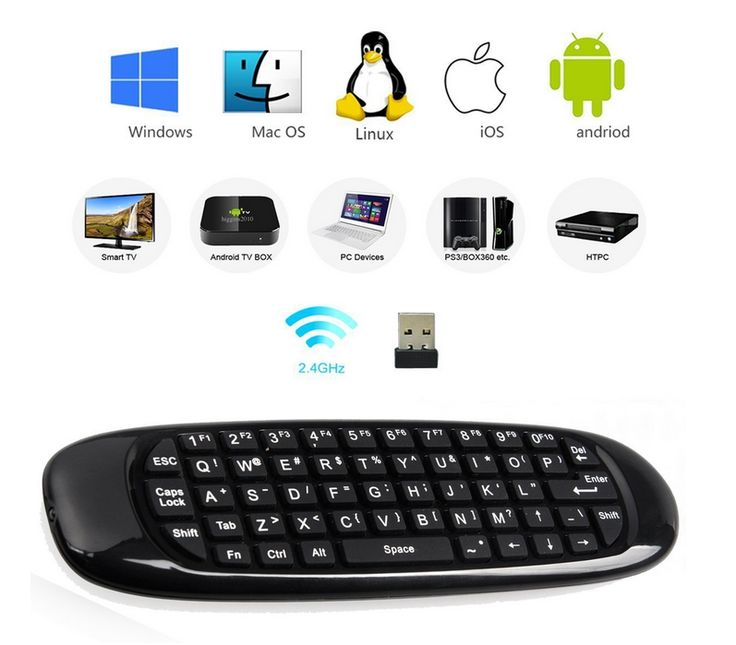 C120 6-Axis Gyro 2.4G Mini Wireless Air Mouse QWERTY Keyboard for Android/Windows/Mac OS/Linux Systems - Black